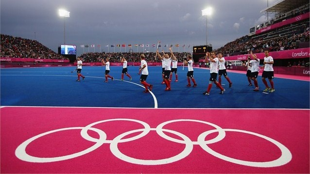 Team GB celebrate victory over Argentina
