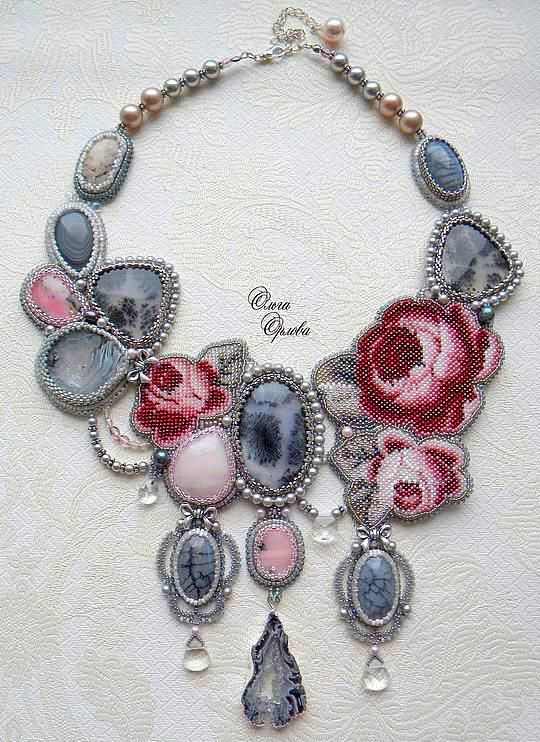 I made photo collection of beautiful spring  jewelry with beaded flowers. Every piece is original and