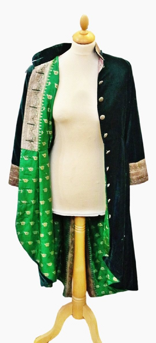 Velvet evening coat lined with sari silk, brocade to the cuffs and half-belt to the back.   Estimate £20.00 to £40.00 (Lot no: 322 in sale on 05/08/2014) The Cotswold Auction Company