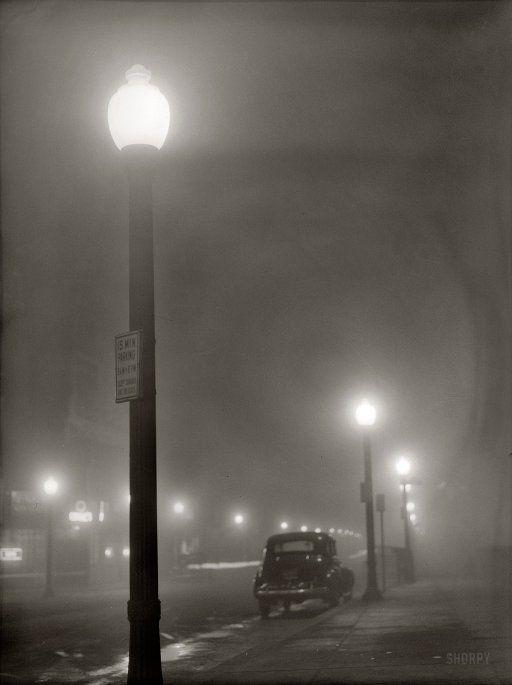 "Jack Delano, ""Foggy night in New Bedford, Massachusetts"" (1941)"
