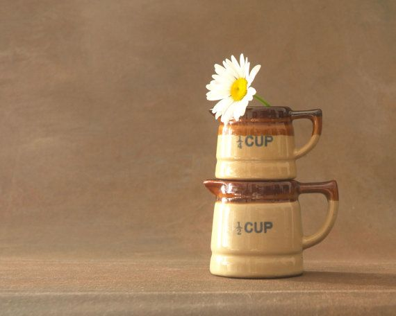 Little Brown Pitcher Measuring Cups Farmhouse by PattyMoraVintage