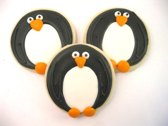 Penguin Sugar Cookies 1 Dozen by SugarRushCookies on Etsy, $24.99