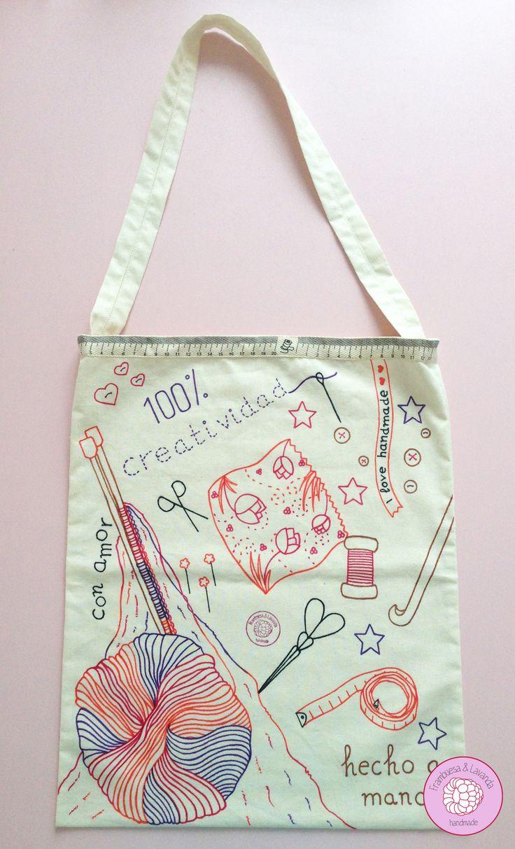 #Bolsa #Ilustración #ToteBag #Handmade #Costura