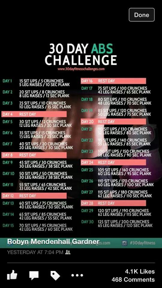 30 day ab challenge | good for me | Pinterest | Fitness, 30 day fitness and Workout