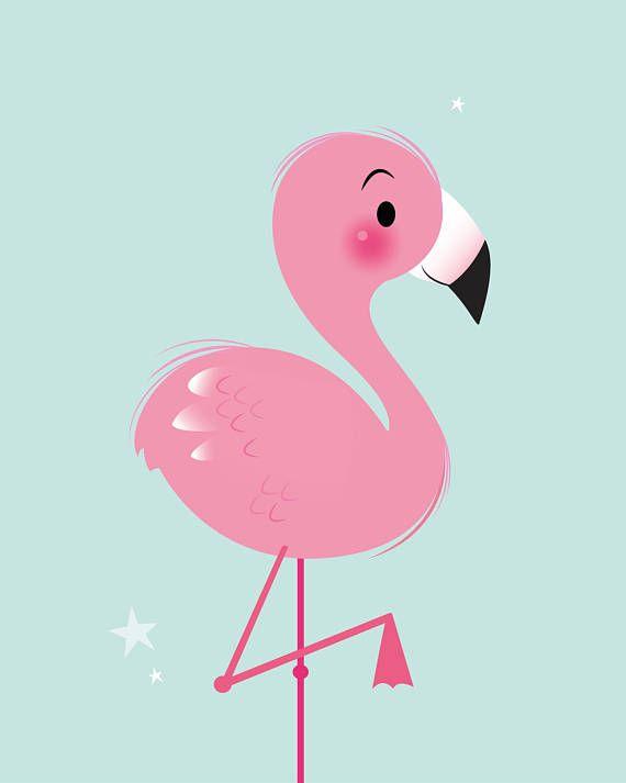 Girls nursery art flamingo print nursery decor girl - Dibujos pared habitacion infantil ...