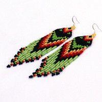 Native American Earrings Inspired. Dangle Long Earrings. Yellow Orange Red Black Green Earrings. Beadwork.