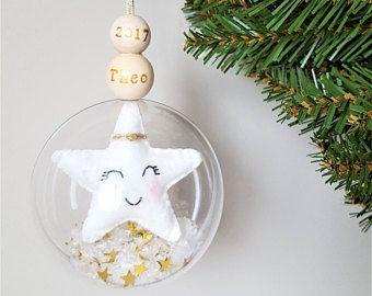Première décoration étoile de Noël pour bébé - Baby premier Noël du premier Noël ornement - babiole personnalisé - bébé - boule argent or
