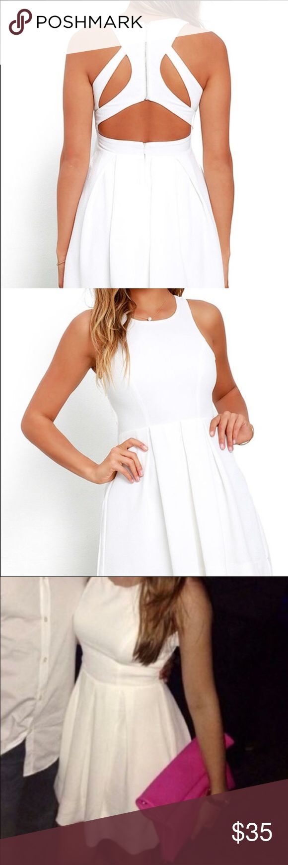 White skater dress Gorgeous white skater dress with cut outs on the back. Super flattering dress! From Lulu's.com Lulu's Dresses Mini