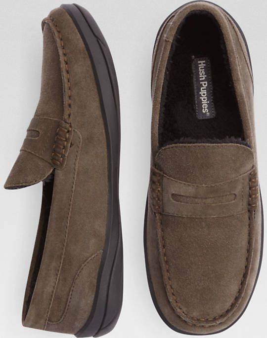 Hush Puppies Taupe Suede Penny Loafer Slippers
