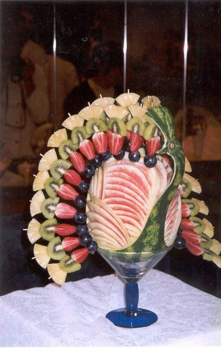 peacock...great idea!! Use a stem glass to set the watermelon on...
