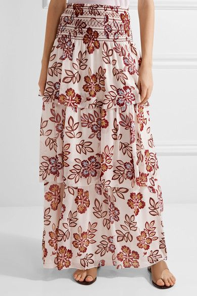 Tory Burch | Indie tiered printed silk-georgette maxi skirt | NET-A-PORTER.COM