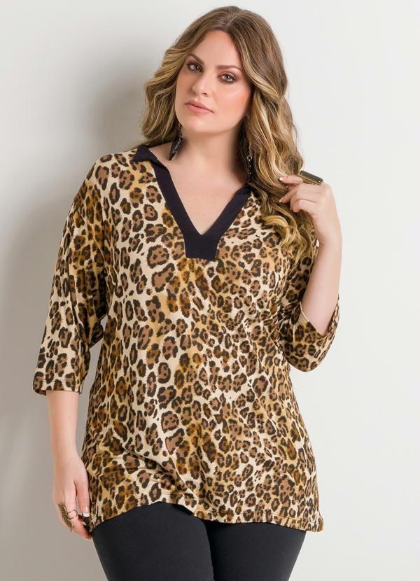 Blusa Decote V Onça Plus Size - Quintess                                                                                                                                                     Mais