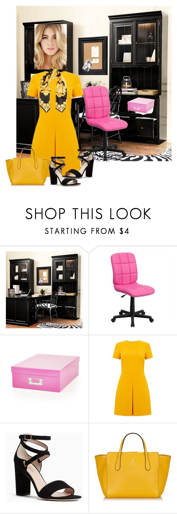 """Another Day at the Office"" by sherrysrosecottage-1 ❤ liked on Polyvore featuring Ballard Designs, Flash Furniture, Warehouse, Kate Spade, Gucci and Versace"