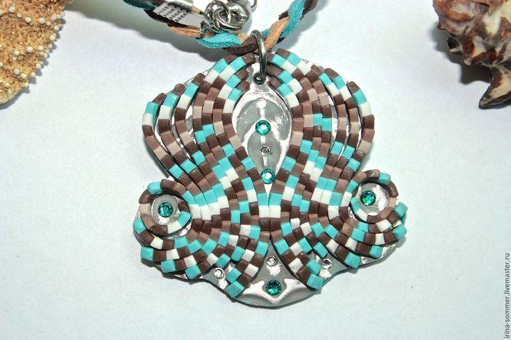 Купить Кулон Королевский цветок двусторонний ручной работы - шоколадный, бирюзовый queen flower pendant, polymer clay