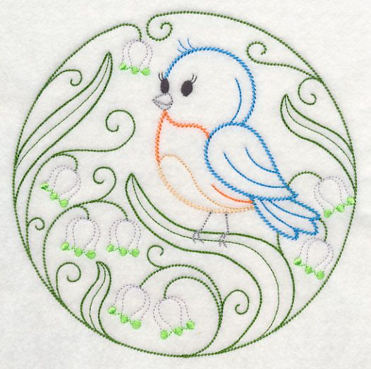 Embroidery: animals and flowers - birds - eastern bluebird and spring snowflakes