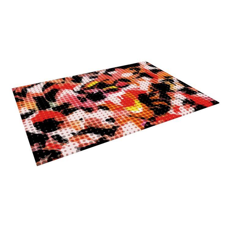 "Matthias Hennig ""Camouflage Grid"" Orange Red Indoor / Outdoor Floor Mat"