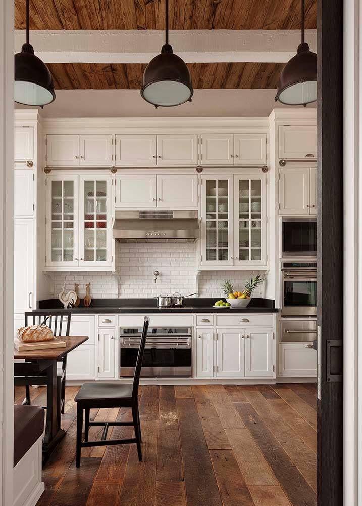 Flooring, Ceiling Detail, Shaker White Cabinets. Subway Tile, Potfiller.  Love This