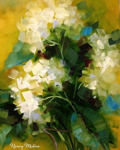 Caribbean Blue White Hydrangeas and a Tennessee Workshop by Texas Flower Artist Nancy Medina, love it!!