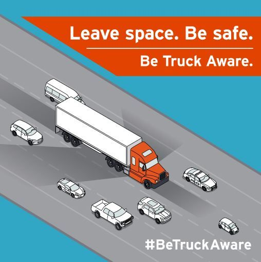 #BeTruckAware Large trucks need extra room to stop and to turn, and have many blind spots.  Thank you for allowing our Student Drivers a bit of extra space! #drivesafe #truckerlife