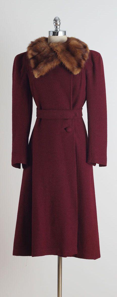 Imperialis . vintage 1940s coat . mink fur collar . 4833