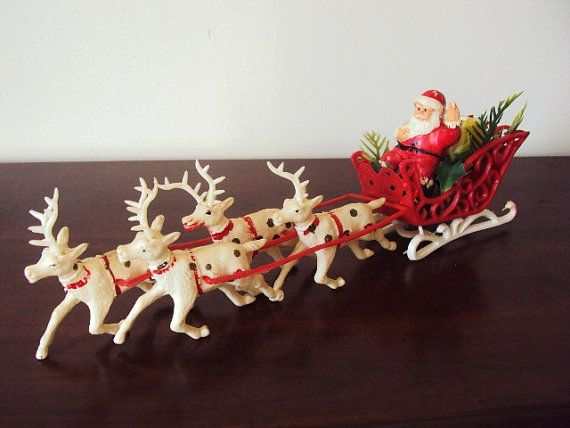 Vintage Christmas - Reindeer Santa Claus and Sleigh Mid Century 1950s