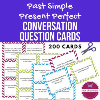 This set of 200 Past Simple (Regular & Irregular verbs) and Present Perfect question prompt cards are great for speaking and listening activities in Upper Elementary to Pre-Intermediate adult and teen ESL classrooms. Great for private students as well as small groups.