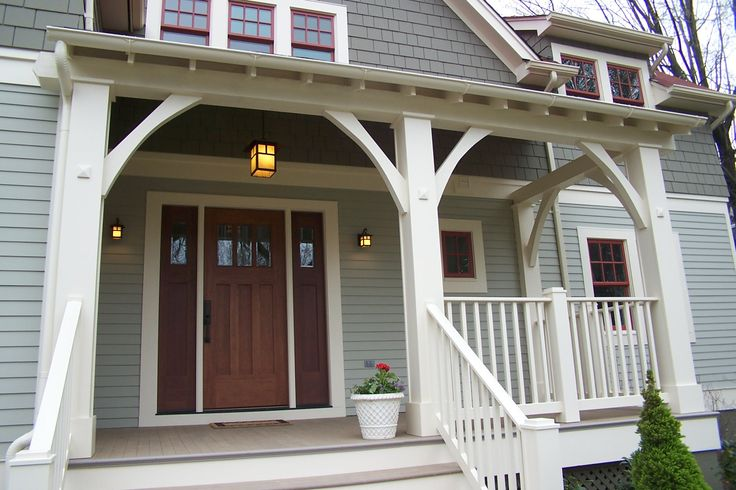 Front porch front door: Porches Front, Front Porches Columns, Porches Posts, Exterior Colors, Front Doors Color, Porch Posts, Front Door Colors, Craftsman Style Porch, Front Porch Columns