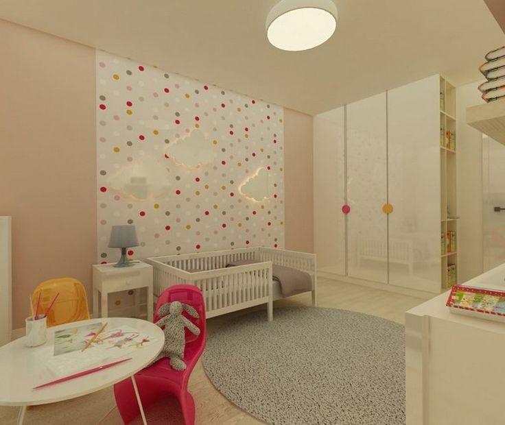 Kinderzimmer Wandgestaltung Ideen Tapete Rosa Farbe Punktemuster Wolken