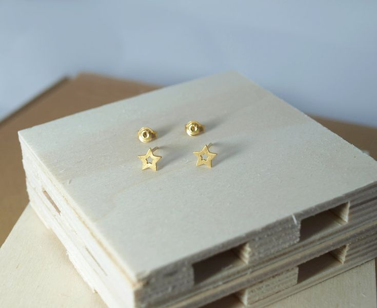Gold-plated Star Stud Earrings by Fragkiski on Etsy