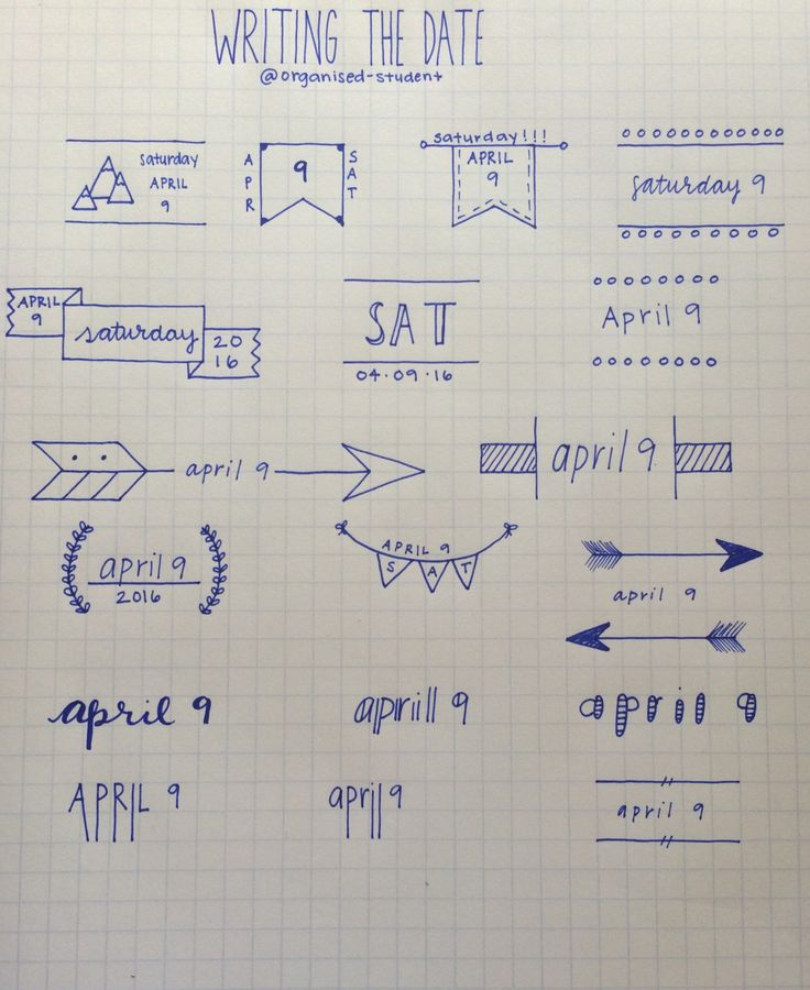 4•9•16 A reference sheet I made for different ways to write the date. This mostly just works for bullet journal stuff.
