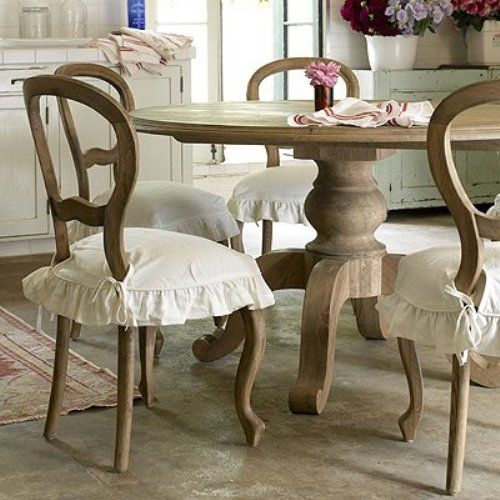 Shabby chic dining room idea 2 minus the ruffly chair covers stile country chic pinterest - Shabby chic dining room chair covers ...