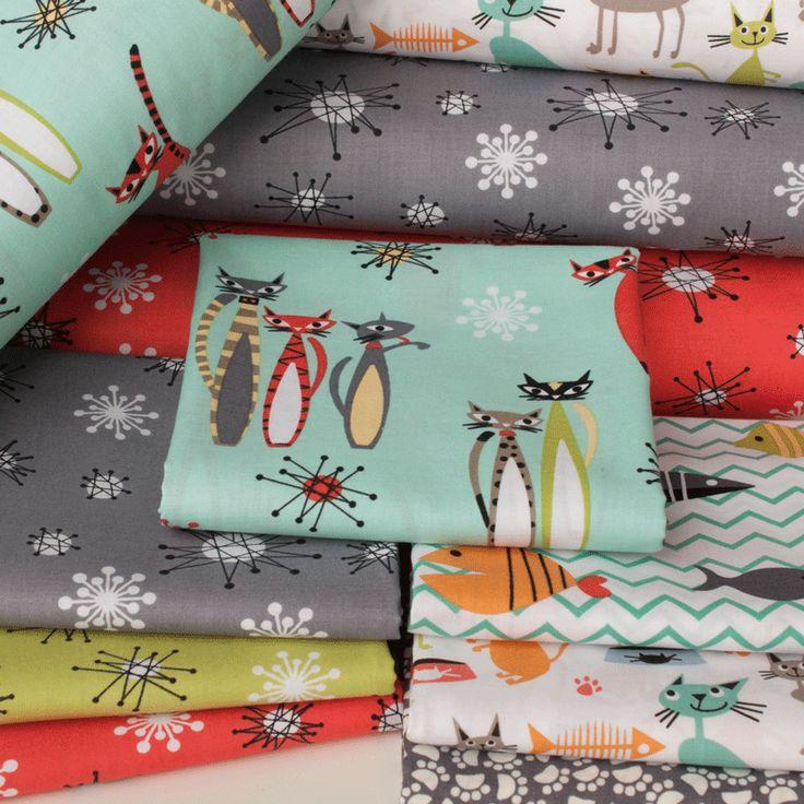PlushAddict - Fat Quarter Bundle Cottons: Atomic Tabby, 7 Fabrics - cotton fabric