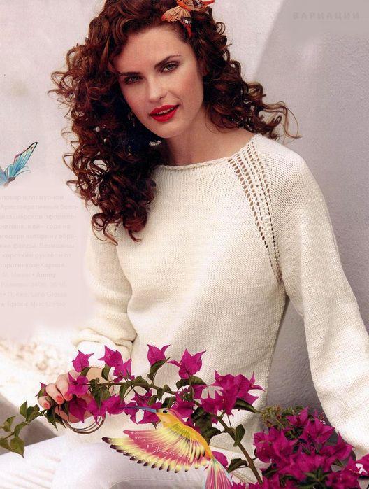 Белый пуловер с рукавом реглан: схема вязания спицами