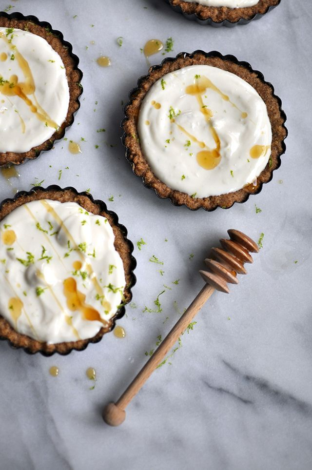 Ricotta-Lime Tarts in Walnut Crust by turntablekitchen #Tarts #Lime