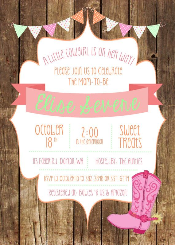 Little Cowgirl Baby Shower Invite Cowgirl by TwistedSisterShop