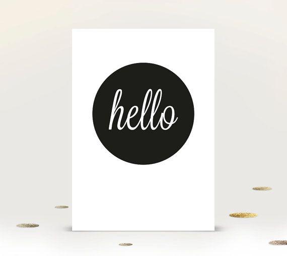 'Hello' Fun Art Print, Instant Digital Download, A4 Poster, Printable Wall Art. Custom versions available | Gracious Me Design
