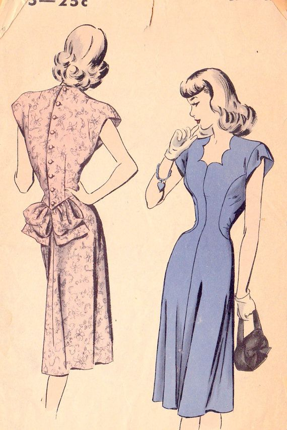 1940s Misses Dress Vintage Sewing Pattern--I love the lines and the structure--so elegant!
