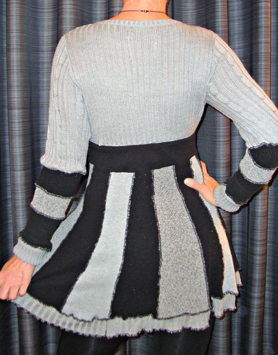 Upcycled Sweater Dress in Black and Gray OOAK by PandorasPassions, $100.00