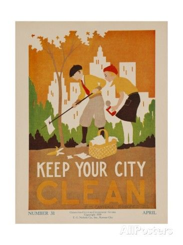Character Culture Citizenship Guides Original Poster, Keep Your City Clean Giclee Print
