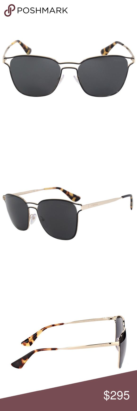 Authentic Prada Black Pale-Gold Metal Sunglasses 100% Authentic Prada Sunglasses // BNWT // Comes with Case, Cloth & Papers // Retail: $400  - Model Number: PR 54TS 1AB5S0 - Frame Color: Black / Pale Gold - Material: Metal - Style: Square - Lens Color: Grey - Lens Technology: Anti-Reflective - Manufactured: Italy - 100% UV Protection  Reasonable offers welcome! Prada Accessories Sunglasses