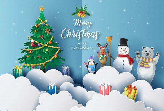 Merry Christmas And Happy New Year 2020 Concept With Snowman Reindeer Bear And Penguin Happy Merry Christmas Merry Christmas And Happy New Year Christmas Characters