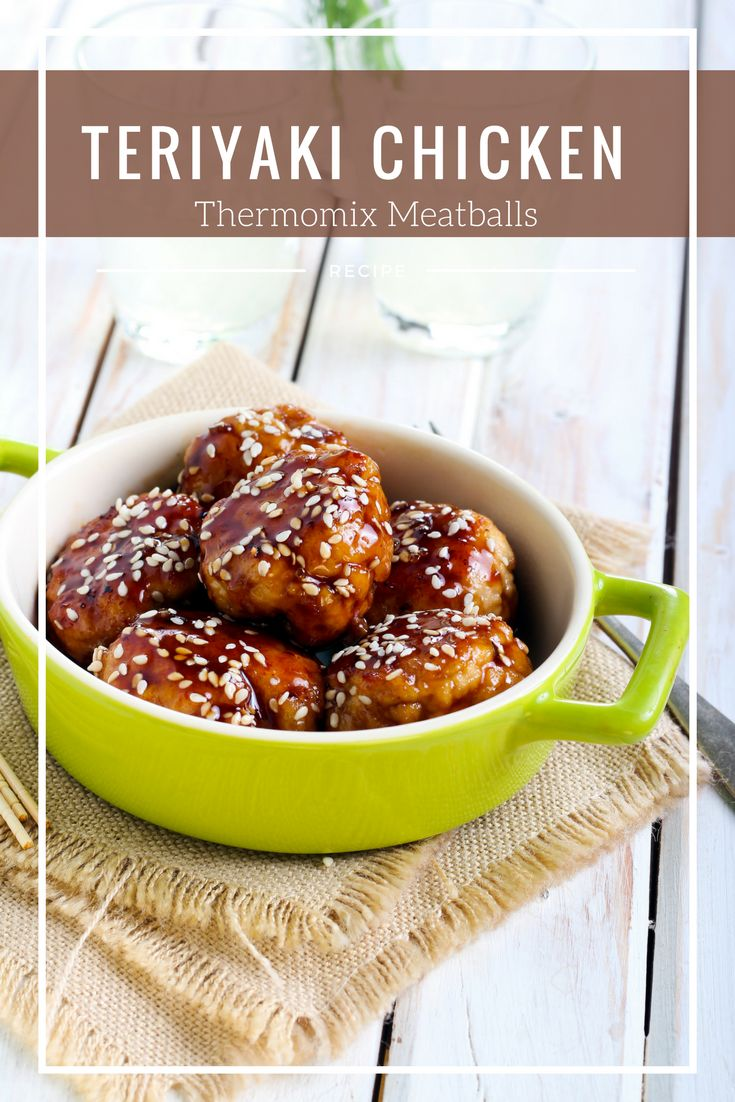 Teriyaki Chicken Meatballs are a quick family meal. Served with rice or in lettuce cups for an easy dinner. Thermomix recipe Teriyaki Chicken Meatballs. #chicken #Thermomix via @thermokitchen