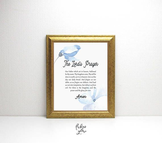 Lord's Prayer with blue watercolor flowers printable