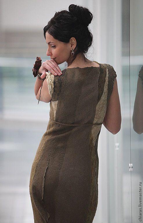 """Купить войлочное платье ручной работы """"Елена Прекрасная"""" - хаки, эксклюзивное платье"""