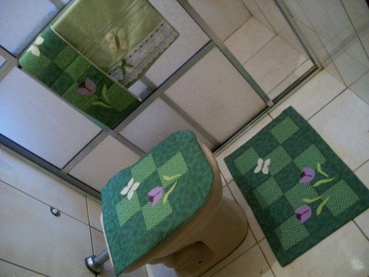 jogo banheiro patchwork tulipas 4 peças