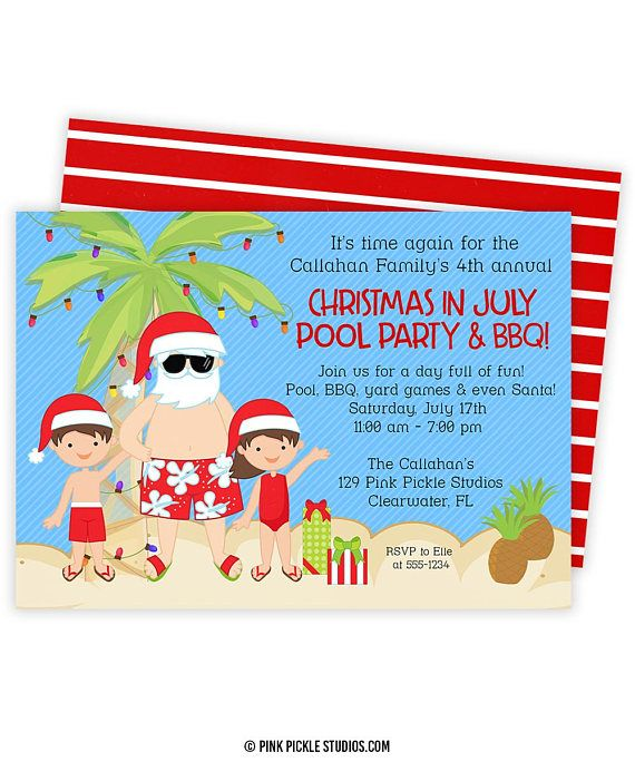 christmas in july invitation christmas in july summer christmas