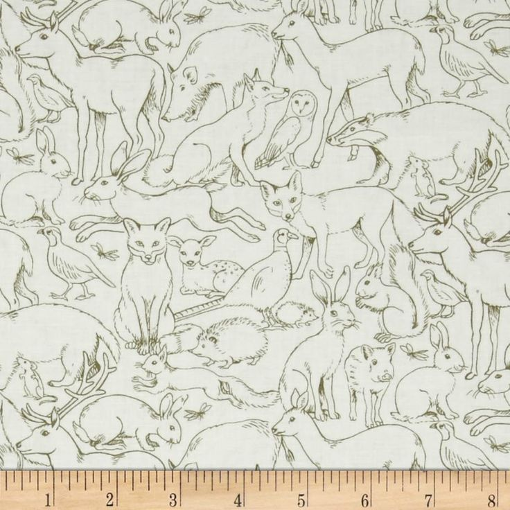 Fox Deer Owl Sherwood Fabric Animal Outlines Rabbit Pig