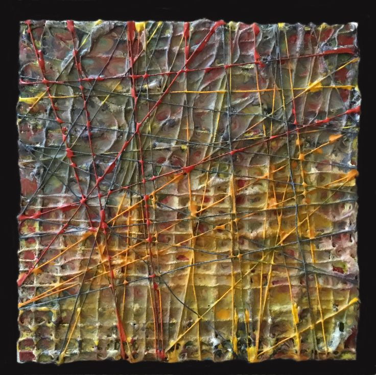 """Woven Structures, encaustic on panel, 8"""" X 8"""", Anna Wagner-Ott"""