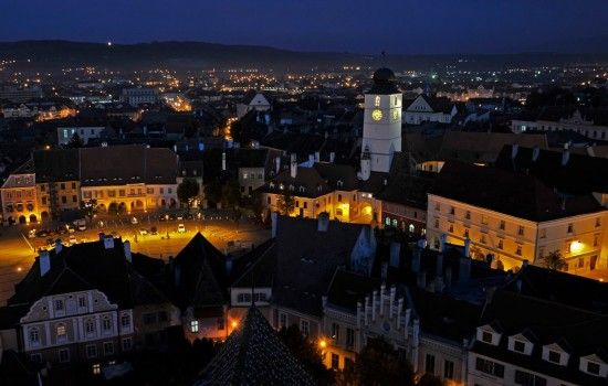 Sibiu by night, Transylvania, Romania