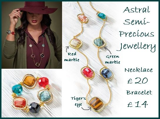 Astral Semi-Precious Jewellery Inspired by the beauty of constellations.  Necklace - £20; Bracelet - £14 This 90cm necklace features vibrant glass and polished semi-precious stones of tiger's eye and marble to represent the stars and planets. The bracelet is elasticated to suit most sizes. Natural stones vary in colour and pattern, meaning no two pieces in this collection will be the same.   Message me for details – Megan